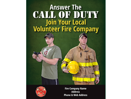 Become a volunteer firefighter recruitment call of duty flyer 7