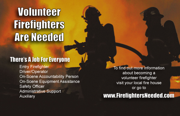 small flyers for volunteer firefighter recruitment