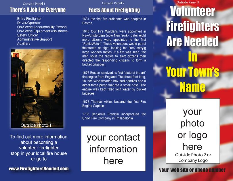 brochures for volunteer firefighter recruitment